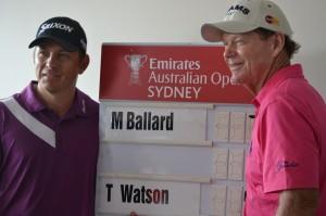 Matt Ballard with Tom Watson at the Emirates Australian Open in Sydney, 2012